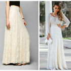 Ladies Double Lace Layer Pleated Long Maxi Elastic Waist Summer Beach Maxi Skirt