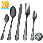 45Pcs Black Flatware Set Stainless Steel Silverware Cutlery Set Service For 8