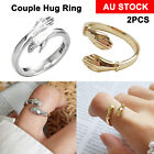 2pcs Couple Hug Ring Adjustable Open Ring 925 Sterling Silver Rings Silver/gold