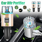 2 in 1 Dual USB Car Air Purifier Ionic Freshener Remove Dust Pollen Odor Cleaner