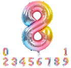 40 Inch Rainbow Large Numbers Balloons 0-9, Gradient Unicorn Pink