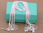 """Wholesale 925 Sterling Solid Silver 10pcs 1mm Snake Chain Necklace 16""""-30"""" Fdc08"""