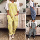 Womens Overalls Casual Baggy Dungarees Plaid Playsuit Romper Pants Long Plus