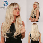 Long Ombre Brown Blonde Synthetic Wigs Natural Wavy with Bangs Daily cosplay wig