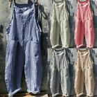 Women Playsuits Sleeveless Striped Wide Leg Baggy Jumpsuits Overalls Long Pants