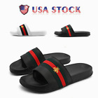 2021 NEW MEN'S STRIPE FLAT SLIDES SUMMER DESIGNER SLIDERS SANDALS SHOES US SIZE