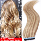 100% Real Remy Balayage Blonde Human Hair Extensions Tape In Seamless Ombre T039