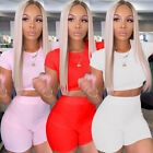 Fashion Casual Sporty Women Solid Round Neck Expose Waist Shorts 2 Pcs Sets