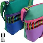 Ladies Leather Cross Body Shoulder Bag by Ili New York with Colourful Detail