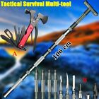 Survival Tactical Stick Trekking Pole Walking Cane Camping Hammer Axe Multitools