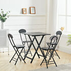 Wooden Dining Table&Chairs Set Foldable Patio Coffee Table Desk Square Black UK
