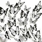 12/24 X 3d Butterfly Wall-stickers Black & White Home Room Decoration