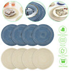 15in Round Cotton Braided Table Placemats Non-Slip Cup Mats Kitchen Dining Decor