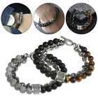Natural Map Stone Men Beaded Stainless Steel Bracelet Jewelry Tiger Eye Fashion