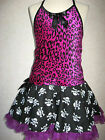 Girls Black,Pink Leopard,Skulls velvet lace top,tutu skirt,Shrug set,Gift,Goth