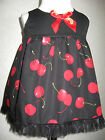 NEW Baby Girls Cool Black,Red cherries Smock Dress,Top,Gift,Goth,Rock,Party,