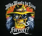 WHO WANTS TO LIVE FOREVER REDNECK SKULL T-SHIRT WS105
