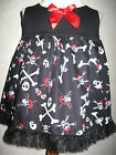 NEW Goth Baby Girls Black,Red,white Skulls,pirates Top/Dress,Gift,Party,Rock