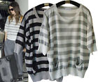 st143 Celebrity style Scoop neck Loose Soft stripe top