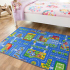 Childrens Kids Rugs Boys Girls Play Mat Bedroom Playroom Roads Baby Nursery Rug