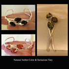 BALTIC HONEY, CHERRY, WHITE or GREEN AMBER & STERLING SILVER CUFF BRACELET