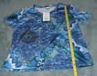 WHITE STAG WOMEN'S BLUE COMBO SHORT SLEEVE V-NECK STUD DETAIL TOP NEW WITH TAGS