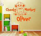 Cheeky Monkey Kids Personalised Any Name Bedroom Wall Art Mural Decal Sticker