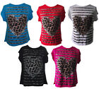 E01 LADIES FUNKY LEOPARD PRINT HEARTS LOVE FOREVER T SHIRT VEST TOP WOMENS 8-14