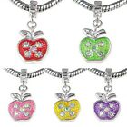 Apple Crystal Silver Dangle European Spacer Charm Bead For Bracelet Necklace