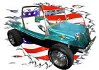 1970 Green VW Dune Buggy Custom Hot Rod USAT T-Shirt 70, Muscel Car Tee's