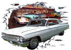 1962 White Cadillac Classic Custom Hot Rod Diner T-Shirt 62, Muscle Car Tee's