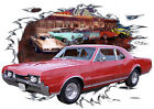1967 Red Oldsmobile 442 Custom Hot Rod Diner T-Shirt 67, Muscle Car Tee's