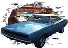 1968 Blue Dodge Charger RT c Custom Hot Rod Diner T-Shirt 68, Muscle Car Tee's