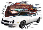 1979 White Chevy Camaro Z28 Custom Hot Rod Diner T-Shirt 79, Muscle Car Tee's