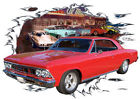 1966 Red Chevy Chevelle c Custom Hot Rod Diner T-Shirt 66, Muscle Car Tee's