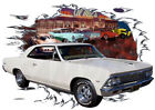 1966 Tan Chevy Chevelle Custom Hot Rod Diner T-Shirt 66, Muscle Car Tee's