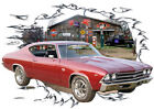1969 Burgundy Chevy Chevelle SS Custom Hot Rod Garage T-Shirt 69, Muscle Car Tee