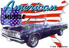 1965 Blue Chevy Chevelle Convertible Hot Rod USA T-Shirt 65, Muscle Car Tee's