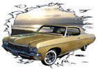 1970 Gold Chevy Impala b Custom Hot Rod Sun Set T-Shirt 70, Muscle Car Tee's