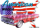 1961 Red Chevy Impala Convertible Blown Hot Rod USA T-Shirt 61, Muscle Car Tee's