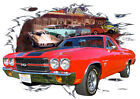 1970 Red Chevy El Camino SS Custom Hot Rod Diner T-Shirt 70, Muscle Car Tee's