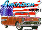 1957 Red Chevy Bel Air Convertible Custom Hot Rod USA T-Shirt 57, Muscle Car Tee