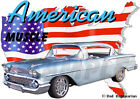1958 Blue Chevy Bel Air Hardtop Custom Hot Rod USA T-Shirt 58, Muscle Car Tee's