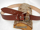 "Barsony Heavy Duty Genuine Burgundy Leather Basket Weave Belt 1.5"" Size 59-60"
