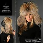 Trapper russian USHANKA fur hat RANCHED Gold/Black raccoon winter cap Fellmutze