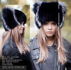 Russian New Beanie Fur WIG hat shapka cap RANCHED Silver/Black/Brown/White foxes