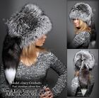 LUXE DAVY CROCKETT SAGA SILVER/GOLD Ranched FOX fur hat men women Long tail NEW