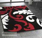 Black Red and Ivory Damask Designer Rug - 3 Large Room Sizes