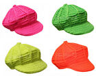 X74 GIRLS FUNKY RETRO NEON BAKER BOY PEAK BEANIE HAT FASHION PARTY DANCE WEAR