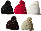 X82 LADIES NEW KNITTED DESIGN SKI BEANIE HAT PEARL DETAIL EFFECT WOOLY RETRO HAT